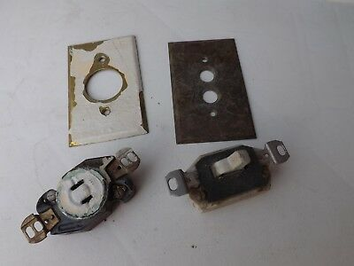 Antique Electrical 110 Volt Outlet Toggle Switch 2 Brass Cover Plates