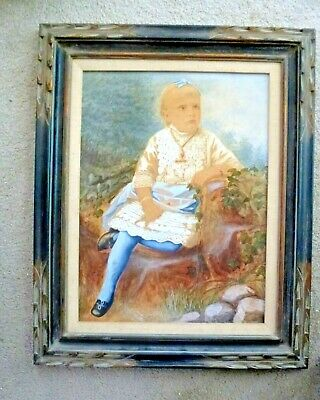 Antique Pastel Painting Victorian Girl in Garden Carved Frame Child Portrait