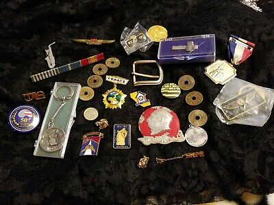 Vintage Mens Junk Drawer lot in Tokens, Pins ect.