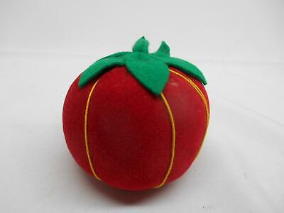 "Old Vintage TOMATO SEWING PIN CUSHION NOTION Made Japan Strawberry 3"" diameter"