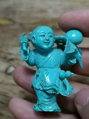 Antique Qing Dynasty Chinese Old Turquoise Boy Carving X1949