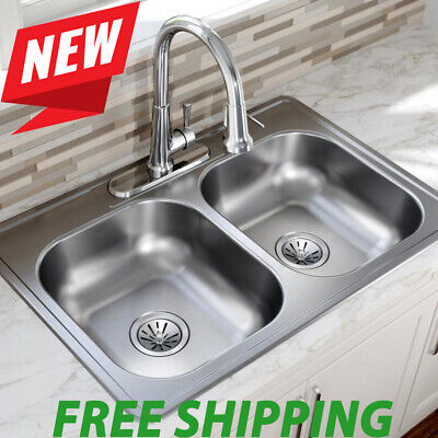 Satin Double-Basin Drop-In 4-Hole Residential Kitchen Sink Stainless Steel Kits