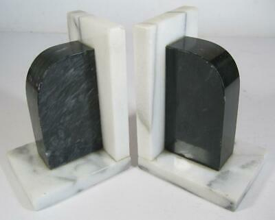 Vintage art deco black/white marble/alabaster bookends x 2 stepped