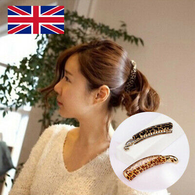 Large Brown Tort Twisted Long Banana Clip Fish Clip Grips Ladies Hair Accessory