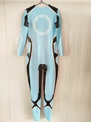 Latex Catsuit Rubber Gummi Ganzanzug Anzug Bodysuit Light blue Party Suit 0.4mm