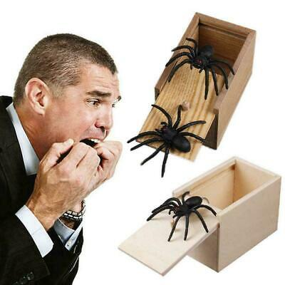Kids Adult Funny Toy Prank Spider Wooden Scare Box Toy Office Gag Joke