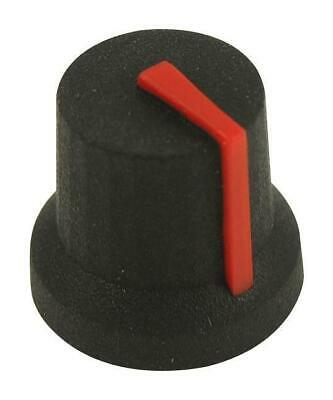 16.2mm Soft Touch Rubber Instrument Knob, D Shaft, Black / Red - MULTICOMP