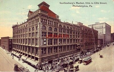 SNELLENBURG'S MARKET, 11th to 12th Street PHILADELPHIA, PA 1912 vintage autos