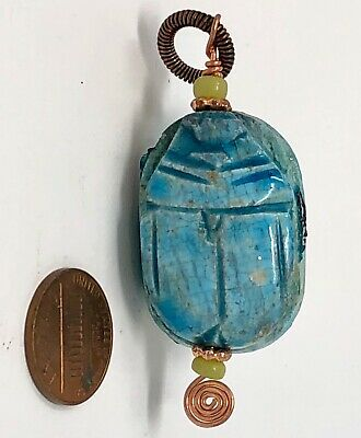 VINTAGE Egyptian Blue Glazed Ceramic SCARAB PENDANT with Copper Findings