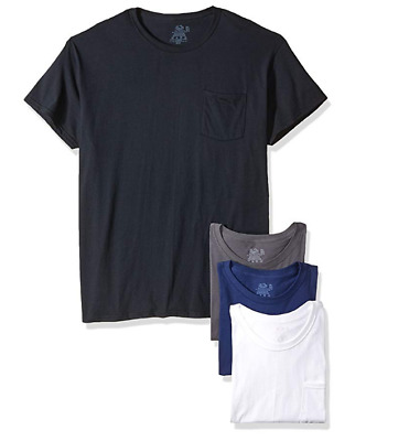 Fruit of the Loom Men's  Pocket Crew Neck T-Shirt (Pack of 4) Assorted Sz XL NWT