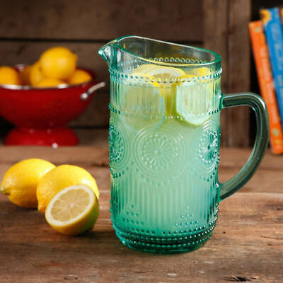 Turquoise Glass Pitcher 1.59-Liter Dishwasher Safe Juice Container Home Kitchen