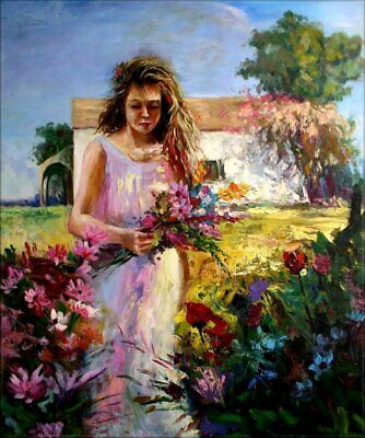 Young Lady Picking Flowers, Quality Hand  Painted Oil Painting, 20x24in