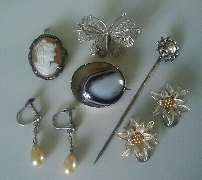 Antique & Vintage Jewellery Sterling Silver Cameo Agate Pearl Filigree...