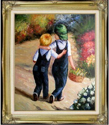 Framed Quality Hand Painted Oil Painting, Little Friends, 20x24in