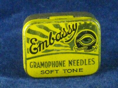 39845 Old Antique Vintage Gramophone Needle Tin Box Record Player Embassy