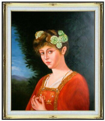 Framed, Quality Hand Painted Oil Painting Lady with Roses, 20x24in