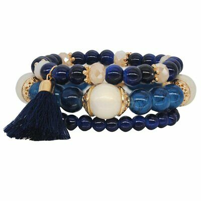 3Pcs Blue Bohemia Multilayer Natural Stone Crystal Bangle Tassel Beaded Bracelet