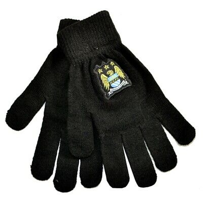 Manchester City F.c. Knitted Gloves Junior - Fc Football Official Club Winter