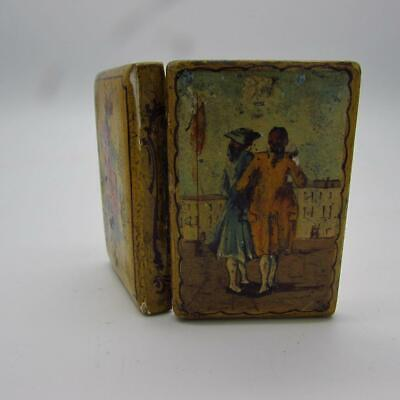 RARE ANTIQUE 18th / 19thC HAND PAINTED SNUFF BOX - SUPERBLY PAINTED