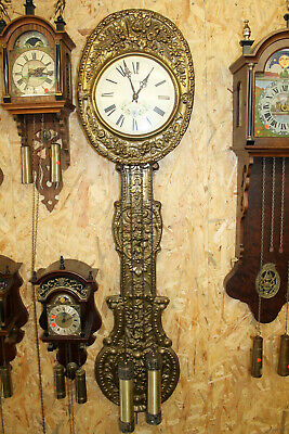 Old Wall Clock Comtoise 2 Weight Chimes clock in brass big pendulum