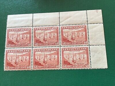 Newfoundland Fishing Fleet #256 Block of Six MNH upper right