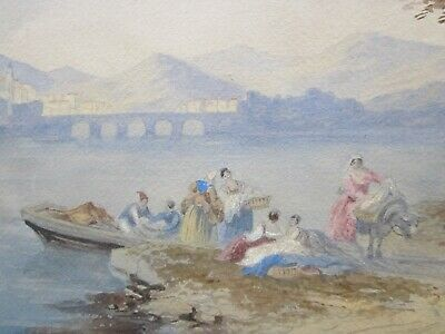 Early 19th Century, Painting, FERRYMAN, Figures on Embankment, ITALY, Grand Tour