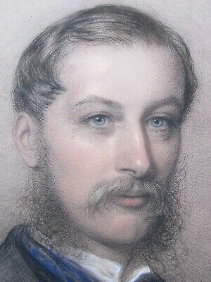Large, 19th Century, Drawing c.1870, PORTRAIT of a HANDSOME GENTLEMAN