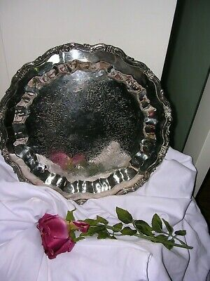 """#W Vintage F. B. Rogers Silver Co. Crown 6091 1883 Etched Round Serving Tray 15"""""""