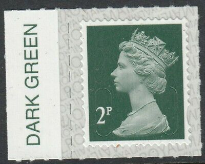 GB 2019 2p S/A MACHIN M19L SBP2i DARK GREEN on SELVEDGE MNH From Counter Sheet