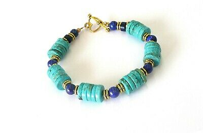 Natural Lapis Lazuli Heishi Turquoise Antique Gold P.  Bracelet Earring Set