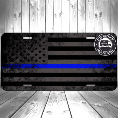 American Police Thin Blue Line Patriotic Faded Flag License Plate Auto Aluminum!