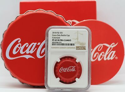 2018 Coca-Cola Bottle Cap Silver Coin NGC PF69 Fiji $1 Dollar Coke - JD154
