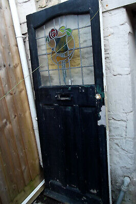Victorian Pine Stain Glass Front Door With Letterbox - Pick Up From Bath,Som.