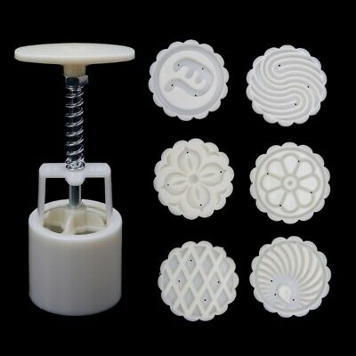 6 Flower Stamps Moon Cake Mould DIY Round Mooncake Mold Baking Tools 63g