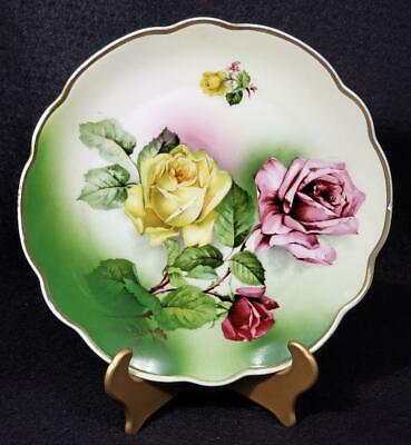 Transfer Prince Regent Crown Bavaria Pink Yellow Roses HandPainted Plate Antique