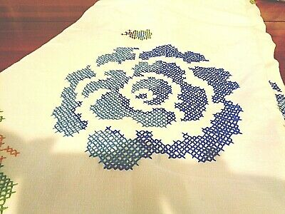 """Vintage Large Round hand decorated tablecloth 108"""" nice White"""