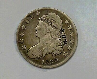 1830 CAPPED Bust Half Dollar 50 c. O-101  Counterstamped W.H.W.