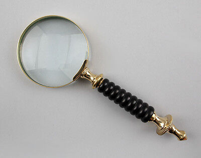 9977119 Brass Magnifying Glass with Black Handle