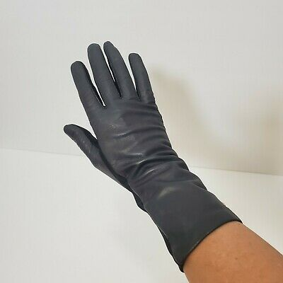 Vintage Womens Gloves Aris Black Leather Sophisticated Classy Feminine Small