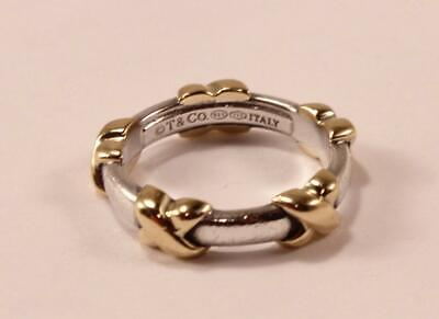 TIFFANY & CO. T&CO 925 STERLING SILVER 18K YELLOW GOLD X RING Sz US-6.5