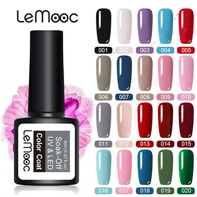 LEMOOC UV Nail Gel Polish Soak Off LED Colour Manicure Base Top Matte Coat 8ml