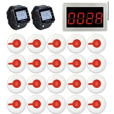 Restaurant Wireless Calling System 1* Receiver Host+2* Watch Receiver+20* Pagers
