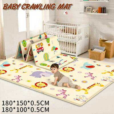 2 Side Kids Cartoon Baby Mat Crawling Deucational Play Soft Foam Foldable Carpet