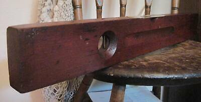 """Antique Stanley Rule & Level 24"""" Cherry? Wood & Brass Primitive Tool Dated 1896"""