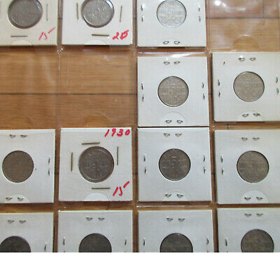 Set of Canada Five Cents (1922-1936 Nickels NICE GRADE COINS (SF25)