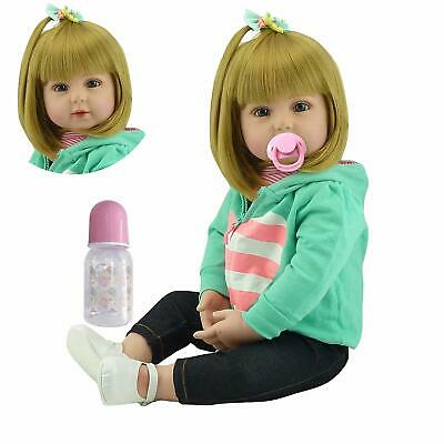 Real Life Size Reborn Baby Dolls 24in Cute Reborn Toddler Girls with Golden Hair