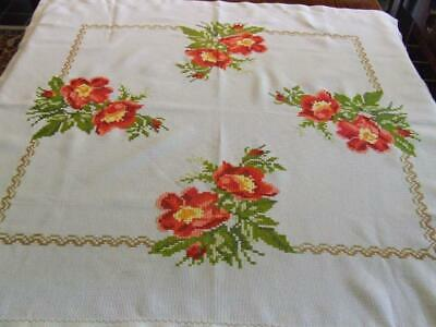 Hand Embroidered Tablecloth with Large Red Hibiscus Cross Stitch Pattern