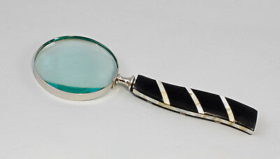 9977472 Silver Colored Magnifying Glass Nickel Plated perlmutt-griff scjhwarz