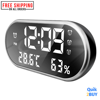 LED Alarm Clock Large Digital Display Thermometer Snooze Table Alarm  Date Time