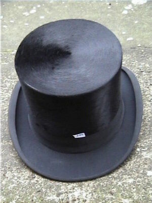 Extremely Large Antique German Black Silk Top Hat Sz 7½ .